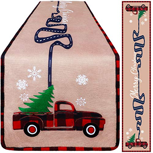 Aneco Christmas Table Runner Christmas Vintage Truck Table Runner Linen Fabric Christmas Table Runner for Christmas Indoor Outdoor Events 14 x 72 Inches
