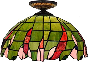 Green Tiffany Ceiling Fixture Lamp Semi Flush Mount 16 Inch Stained Glass Lampshade for Dinner Room Living Room Bedroom Li...