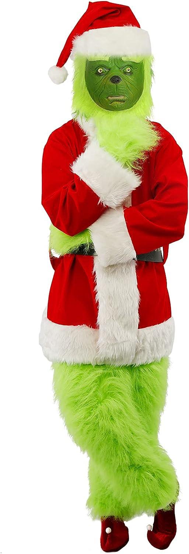 Christmas Green Monster Costume Fresno Mall for Men 8 Pcs Furry Washington Mall Santa Adult