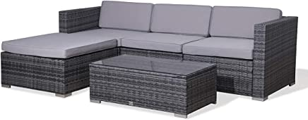 c084be8239e3 Evre CosmoLiving Rattan Outdoor Garden Furniture Set California Sofa Set  with Coffee Table (Grey)