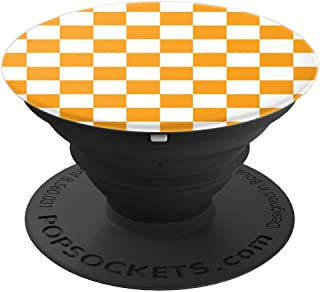 Checkerboard Orange and White   Check Pattern / Checkered - PopSockets Grip and Stand for Phones and Tablets