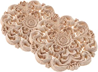 2Pcs Carved Flower Carved Round Wood Appliques for Furniture Cabinet Wood Moldings Unpainted Decal Decorative Figurine Dia. 3.9''