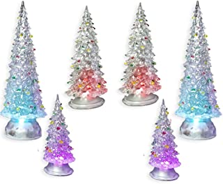 BANBERRY DESIGNS Christmas Tree LED - Set of 6 Acylic Xmas Trees with Painted Colorful Ornaments - Coloring Changing Tabletop Tree Decorations