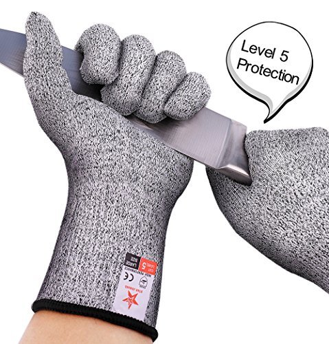 Cut Resistant Gloves STAR JOINING - (Pair) Heavy Duty, Flexible Hand Protection | Food-Grade Safe for Kitchen Cooking Use | Enhanced Resilience, Non-Slip Grip | Indoor, Outdoor (Full Size)