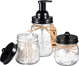 Mason Jar Bathroom Accessories Set - Includes Mason Jar Foaming Hand Soap Dispenser and Qtip Holder Set - Rustic Farmhouse Decor Apothecary Jars Bathroom Countertop and Vanity Organizer (Black)