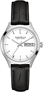 Caravelle 43N103 Women's New York White Dial Black Strap Watch