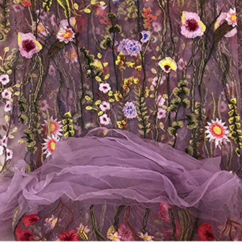 YOUMU Embroidery Floral Lace Fabric Black Mesh Wedding Dress Cloth 47' Width By Meter (Purple)
