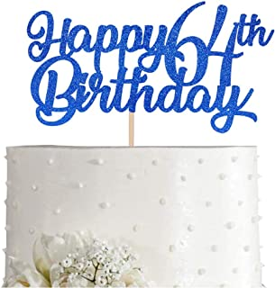 Blue Happy 64th Birthday Cake Topper, Royal Blue Glitter Cheers To 64 Years Party Cake Decorations, Supply