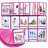 Richardy 45PCS/Set Daily Routines Kids Gifts English Flash Cards Pocket Card Educational Learning Baby Toys for Children Pre-Kindergarten