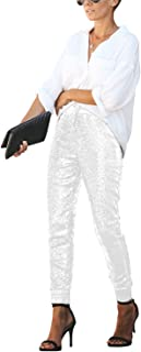 SIAEAMRG Womens Shiny Sequin Long Pencil Pants, Sparkle Glitter High Waist Drawstring Tights Club Wear Trousers Leggings