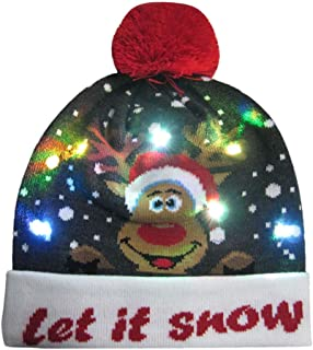 STORTO Christmas Pom Pom Beanie Hat LED Light-up Knitted Ugly Sweater Holiday Caps