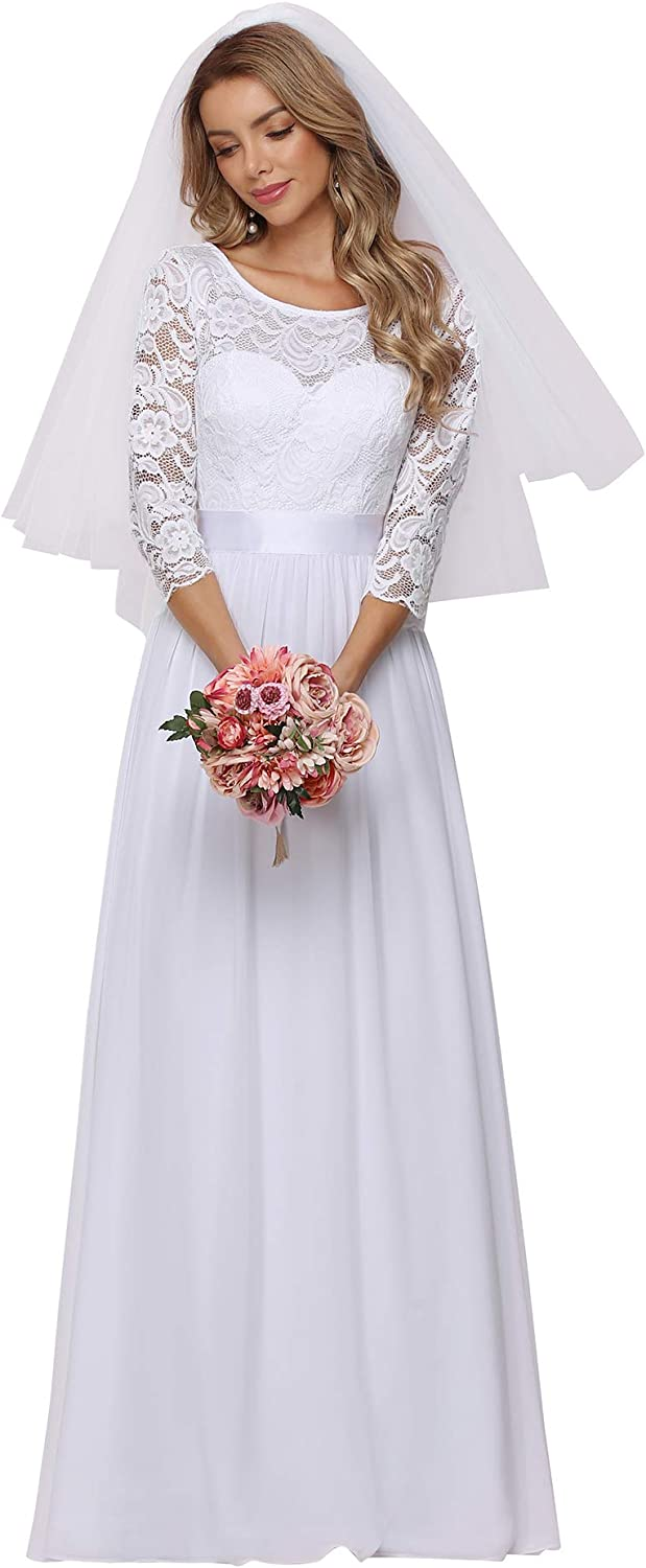 Ever-Pretty Women's Lace Round Neck Long Sleeve Simple Chiffon Wedding Dress 7412-EH