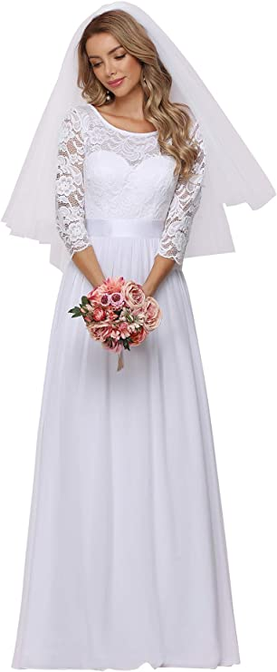 50s Wedding Dress, 1950s Style Wedding Dresses, Rockabilly Weddings Ever-Pretty Womens Lace Round Neck Long Sleeve Simple Chiffon Wedding Dress 7412-EH  AT vintagedancer.com