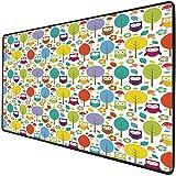 Mouse Pad Gaming Funcional Guardería Alfombrilla de ratón gruesa impermeable para escritorio Bosque colorido con búhos Árboles Hojas Setas y flores Estilo de dibujo lindo Decorativo,Multicolor Base de