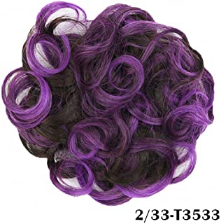 PrettyWit Hair Bun Updo Extensions Hair Chignons Hair Piece Wig Scrunchies Hairpiece Ribbon Ponytail Ombre Bridal Drawstring Easy Stretch-Rasin Purple and Dark Brown 233T3533