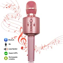 Protable Bluetooth Karaoke Microphone Wireless MODAR Dual Speakers Compatible with PC/iPad/iPhone/Smartphone, Used for Home Outdoor Party KTV Playing Singing Music, Pink
