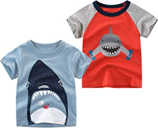 LeeXiang Toddler Boys' 2-Pack Short-Sleeve Tees Cotton Tops Cartoon Graphic T-Shirts