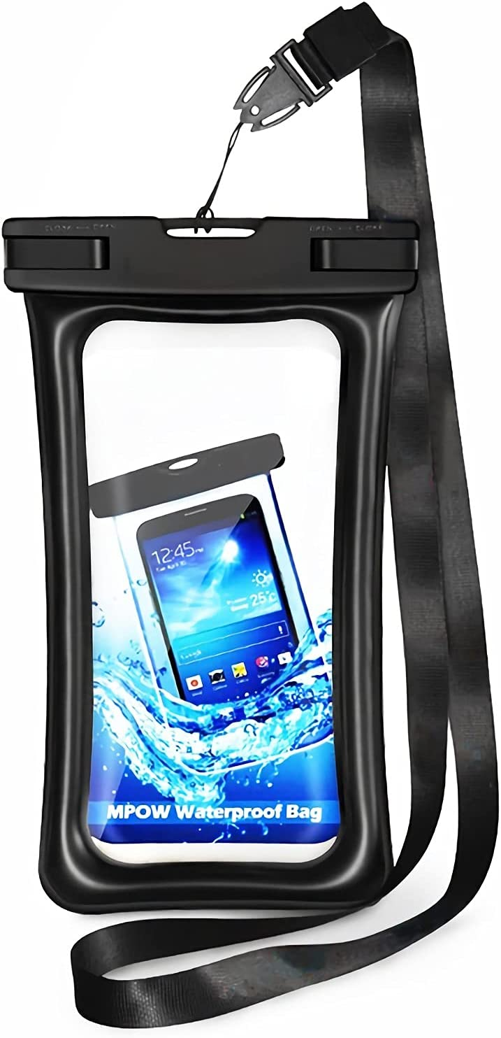 """Water Proof Bag Packs Neck Pouch Cell Phone Bag Waterproof for Phone Pouch Floating Universal Waterproof Pouch Cellphone Dry Bag Case All Phones Up to 6.5"""" (Black, L)"""