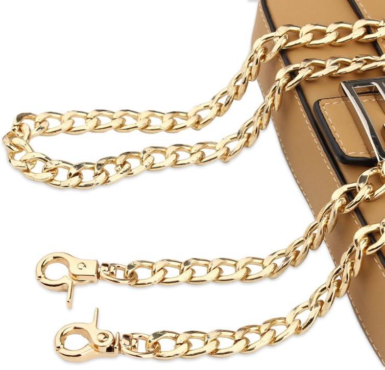2 Piezas Correa para Bolso de Hombro de Cuero con Cadena Negro, blanco 120cm Tiradores de cadena para bolso de mano en PU piel con ganchos giratorios para bolsos de monedero DIY Artesan/ía