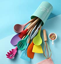Silicone Kitchen Utensils Set for Cooking, 12PCS Colorful Cooking Utensils Set with Wooden Handle, Non-stick & Heat Resist...