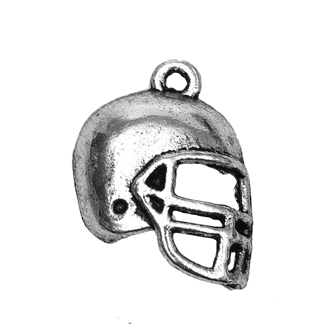 Monrocco 50pcs Football Helmet Charm Bead Vintage Tibetan Silver for Jewelry Making 20x15mm