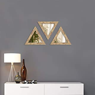 Art Street Decorative Wall Mirror Set of 3 Brown Triangular Shape for Home Decoration & Wall Decoration- Size-10x10 Inch