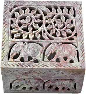 Hashcart Floral Soapstone Jewelry Organiser (4x4 inch) - Decorative Box for Home Décor