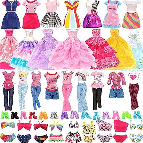 Miunana 24 Accessori per 11.5 Pollici / 30 CM Bambola: 4 Vestiti alla Moda + 2 Tops + 2 Pantaloni + 2 Vestiti Grandi + 4 Costumi da Bagno + 10 PCS Scarpe