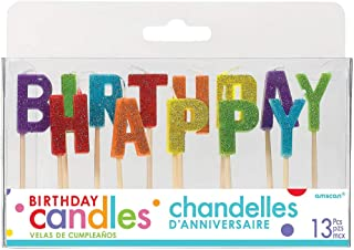 """Amscan 170444 Happy Birthday Glitter Pick Candles, 2 1/4"""", Multicolor"""