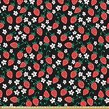 ABAKUHAUS Erdbeere Stoff als Meterware, Frisches
