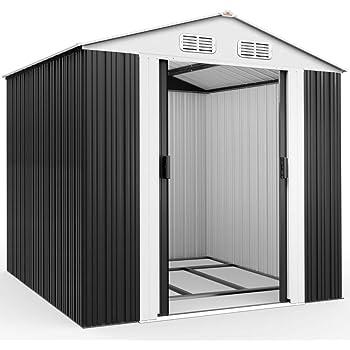 Deuba Cobertizo de metal de 5 m² Antracita con marco de suelo techo con aperturas aeración almacenaje exterior de jardín: Amazon.es: Jardín