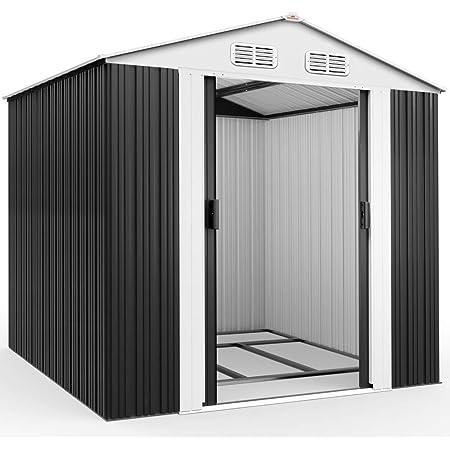 Abri de jardin en métal 5 m² - Cabane / Remise de jardin - Rangement vélos/outils - Gris
