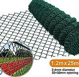 Amagabeli 1.2M x 25M Grillage Jardin Fil 50 x 50 mm Grillage Simple Torsion Vert Métallique Grillage Cloture Jardin en Acier et PVC RAL6005 HC03