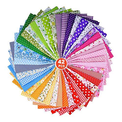 ZWOOS Stoffe zum Nähen Meterware 42 Stück 25 * 25cm Patchwork Stoff Paket Baumwollstoff Meterware für Kleidung, Bettwäsche, Vorhänge, Tischdecken usw. Handgefertigt