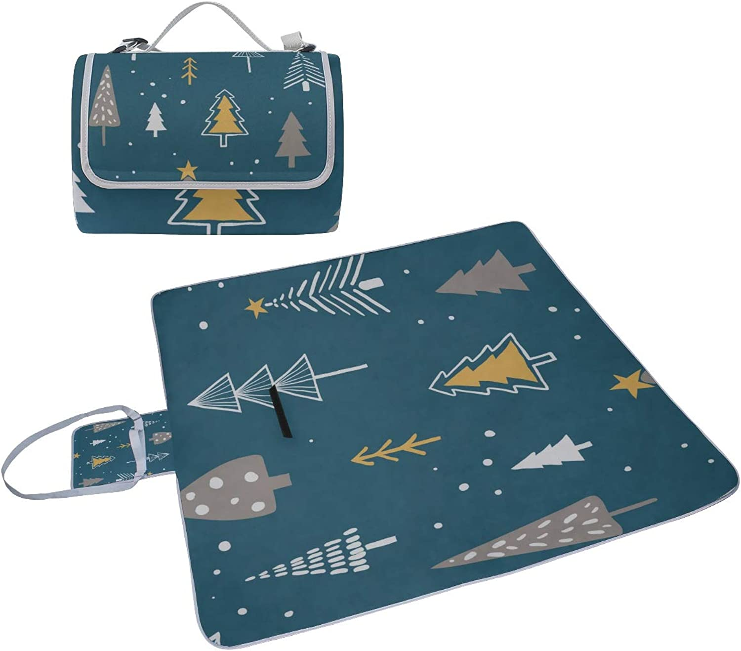 4170809a3d70 Family Picnic Blanket Handy Tote Christmas Tree Green Winter Dress ...