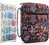 Large Bible Cover Case for Women, Bible Bag Fits for Standard Size Bible Book with Colorful Bible Tabs Blank Sticky Index Tabs, Gifts for Mom/Mother/Daughter/Girls (Black Floral Print)
