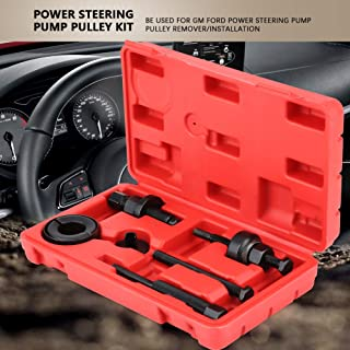 Qiilu Steering Pulley Kit, 6Pcs Power Steering Pump Pulley Kit Puller Remover Installation Tool Set with Carry Case Compatible with GM Ford C2 C111