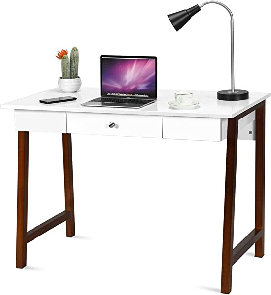 Lunanice Home Office Size 42LX20WX30H Inch Multifunction Computer Desk Laptop PC Writing Table Makeup Vanity Table Drawer Versatile Desk Wood Legs Study Bedroom Game Room Bedroom Workroom