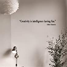 Wall Stickers Quotes Vinyl Art Room Mural Posters Creativity is Intelligence Having Fun Quote Wall Sticker Creativity Wall Quotes Decal DIY Removable Wall Decors Cut Vinyl