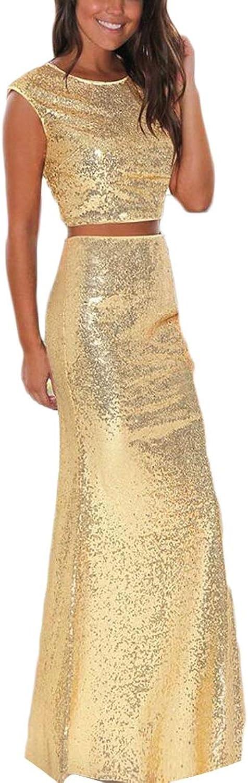 Jxfd Women's Sleeveless Crop Tops Skirt Sequins Mermaid 2 Pieces Party Dress
