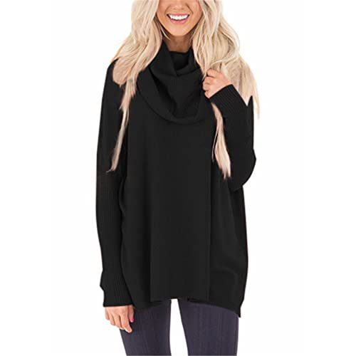 0f25622aa67 FIYOTE Womens Loose Cowl Neck Long Sleeve Solid Knit Pullover Sweater
