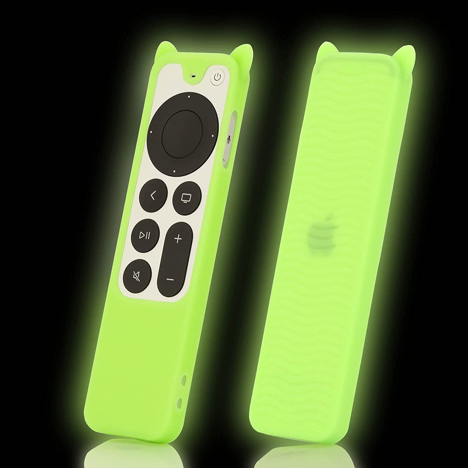 Case Cover Replacement for New 4K Apple TV 2021 Remote Control Series 6 Generation / 6th Gen, Green Cute Cat Ear Silicone Siri 2nd Skin Glow in Dark with Lanyard - LEFXMOPHY