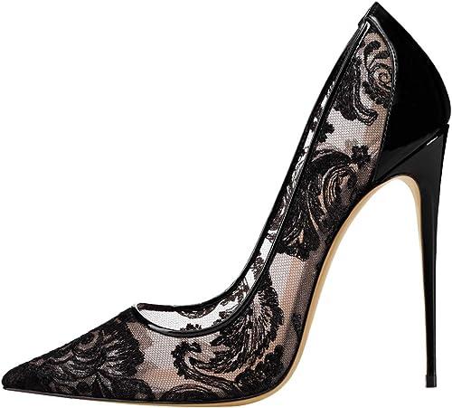 YongBe Boda para mujer Novia Dama de Honor zapatos de Corte de tacón Alto, blancos, de Noche Vestido Baile Fiesta Encaje negro Punta Puntiaguda Tacones Altos Sandalias,A-43