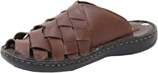 Athlego Men's Leather Flip-Flops & Floaters in Brown Color