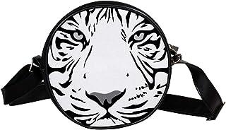 Coosun Umhängetasche mit Tiger-Motiv, flach, rund, Umhängetasche für Kinder und Damen