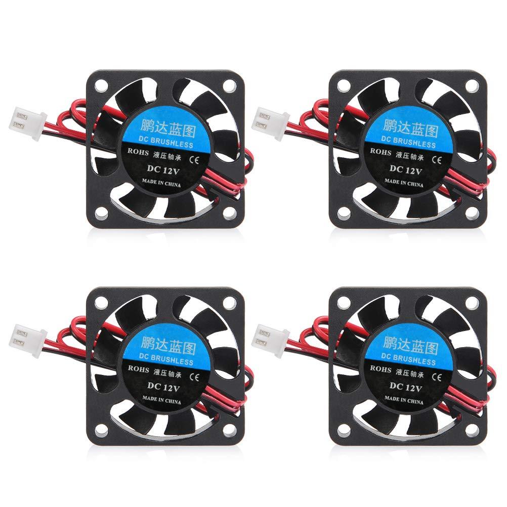 YOTINO 4Pcs Ventiladores de Impresora 3D 5015 Ventilador de DC 12V para Impresora 3D 40 x40 x 10mm (Negro) Accesorios de impresora 3D