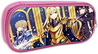 Portable Double Zipper Pencil Case for School Supplies, Sword Art Online Alicization Alice¡¤Synthesis¡¤Thirty Cosmetic Makeup Bag, Cool Stationery Bag for Teen Kids