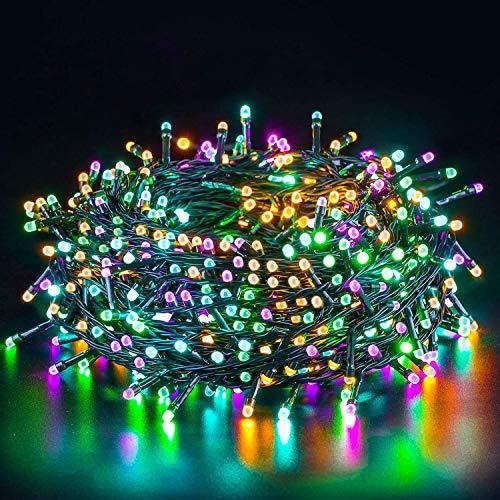 Quntis 20m 200 LED Lichterkette Außen Bunt, IP44 8 Modi Weihnachtsbeleuchtung Innen Strombetrieben, Weihnachtsdeko für Weihnachtsbaum Garten Balkon Terrasse Büsche Zimmer Fenster Wand Party Hochzeit