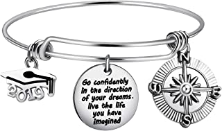 Firsteel Graduation Cap Bangle Bracelet Inspirational Compass Expandable Bracelet Graduation Gift for Women