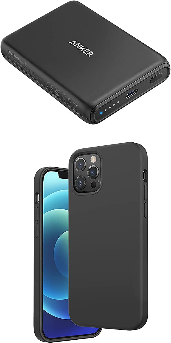 Anker Magnetic Silicone Case, 6.1 Inches for iPhone 12 (Dark Gray) Magnetic Wireless Portable Charger, PowerCore Magnetic 5K Wireless 5,000mAh Power Bank with USB-C Cable